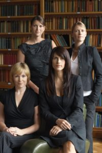 4 females in a law firm library