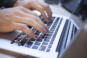 typing on computer keyboard