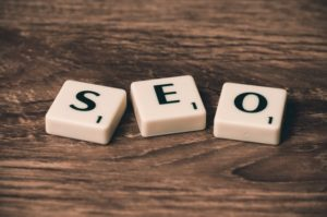 SEO spelled out with tiles