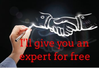 Hand shake with caption of I will give you an expert for free