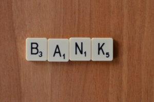 bank in scrabble letters
