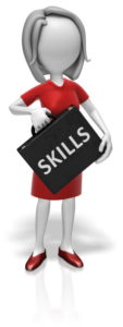 woman holding box that says skills