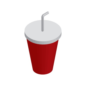 a cup with a lid and straw