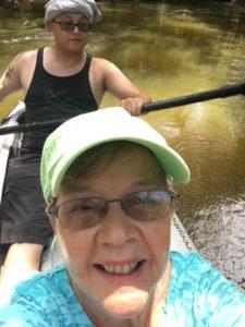 Pat kayaking with Dustin
