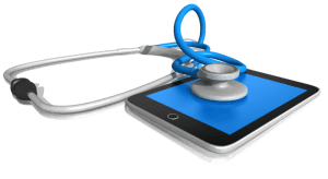 image of stethoscope on Ipad