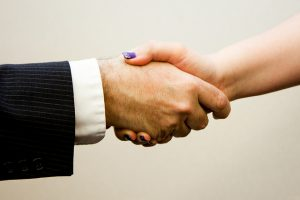 handshake at trade show