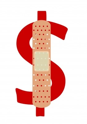 dollar sign with bandaid