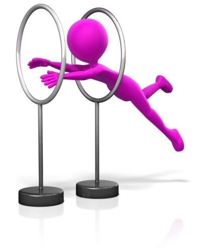 figure jumping through hoops