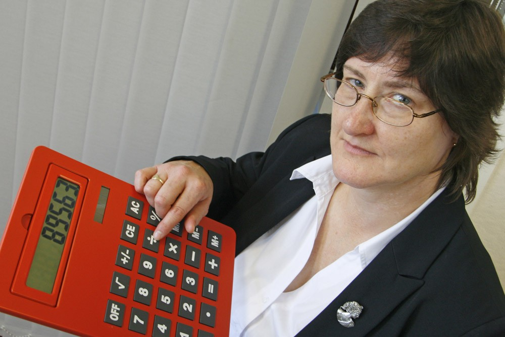 woman holding giant calculator