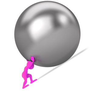 figure pushing ball up hill