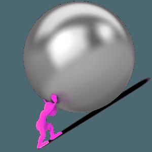 figure pushing ball up hill