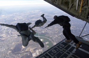 image of skydiving and appropriate LNC fears